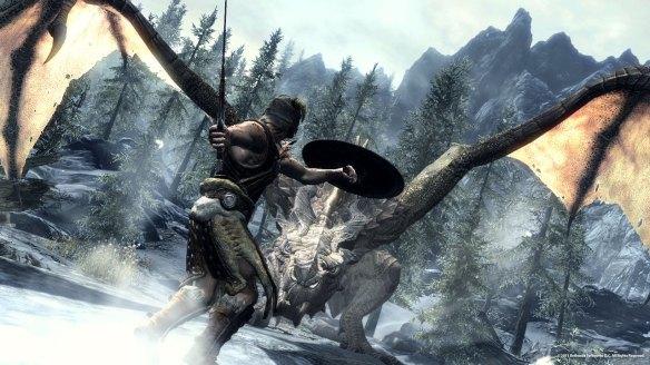 Skyrim Dragon Fight screenshot