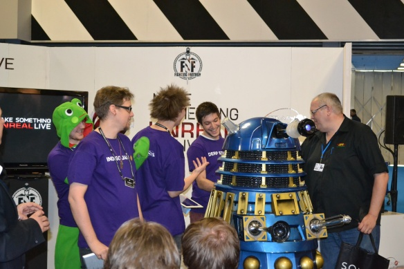 Train2Game at Gadget Show Live gets a surprise visit from a Dr Who Dalek
